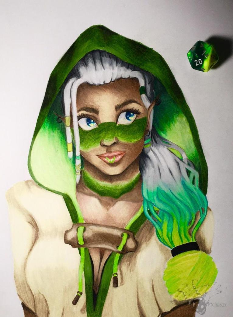 Verde Dee Twinny (portrait) by XxJennaKittyxX