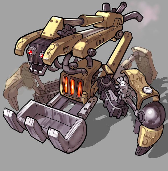 Tripod Backhoe from Untold the card game. http://www.untoldthegame.com/
