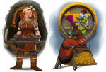 City of Gears: Female Dwarf and Goblin