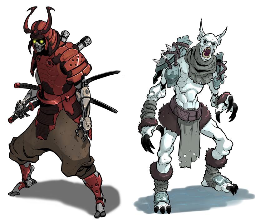 cyborg samurai+weird critter by SC4V3NG3R