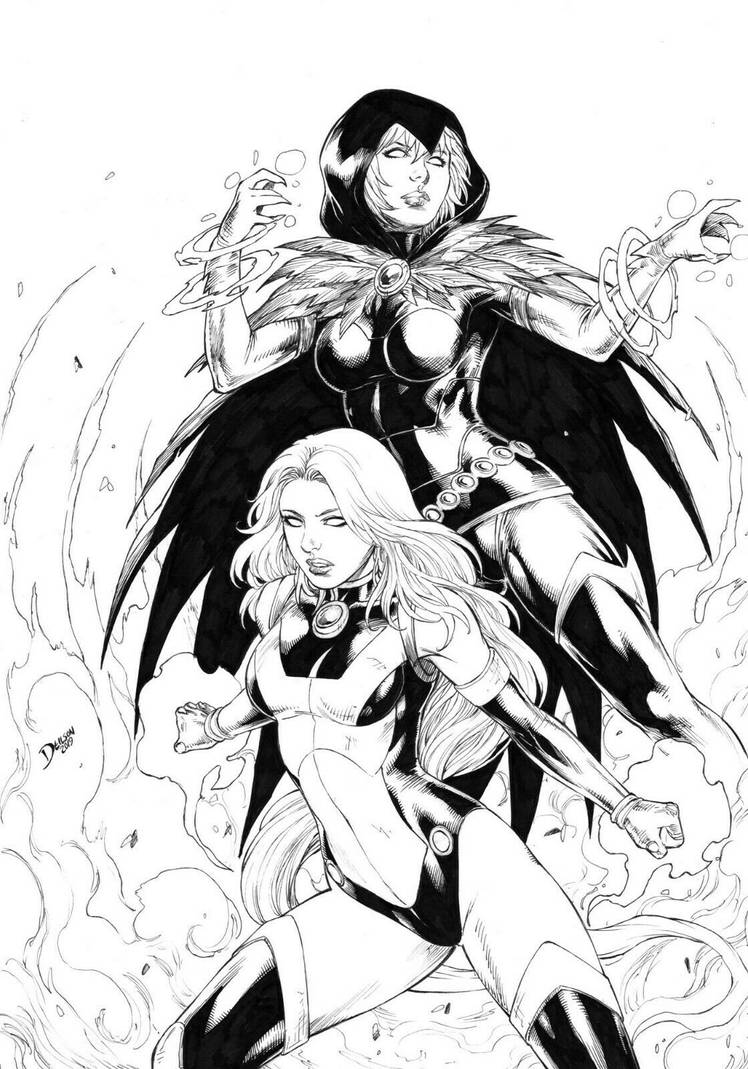Starfire/Raven by Deilson