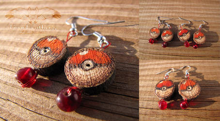 Wood burned Pokeball Earrings