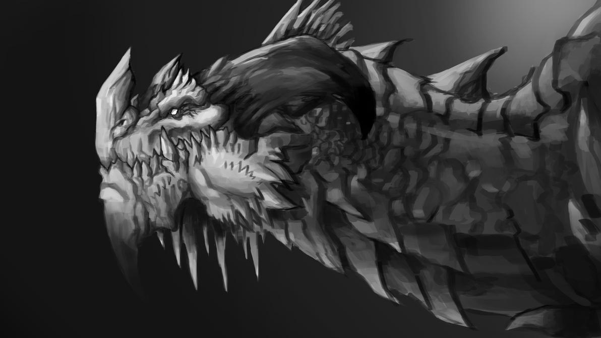 Dragon Head Painting by AnsAmanat