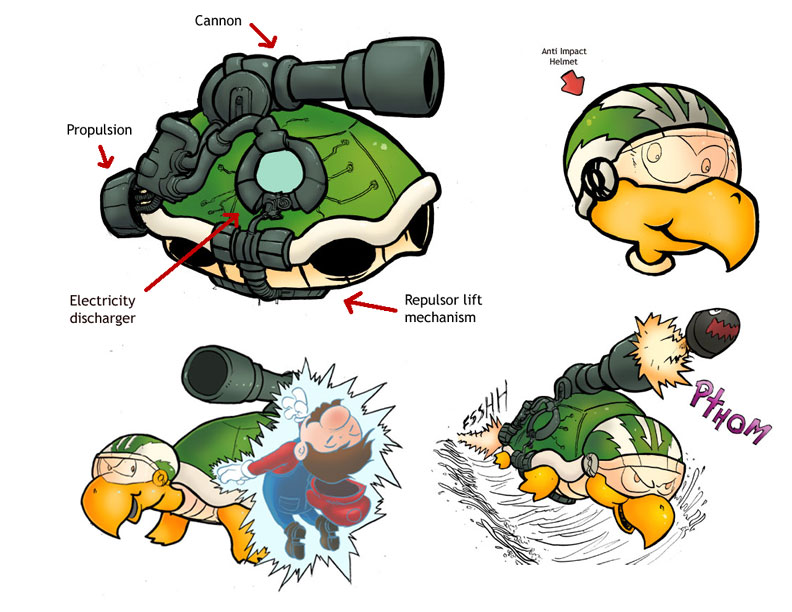 how to draw a koopa troopa shell