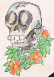 Skull and flowers by sefkobayashi