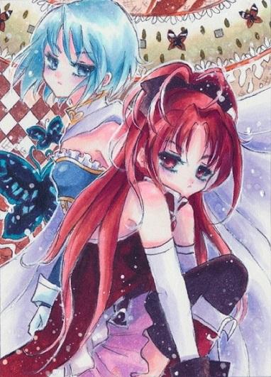Sayaka and Kyoko by OoOoPitchBlackOoOo