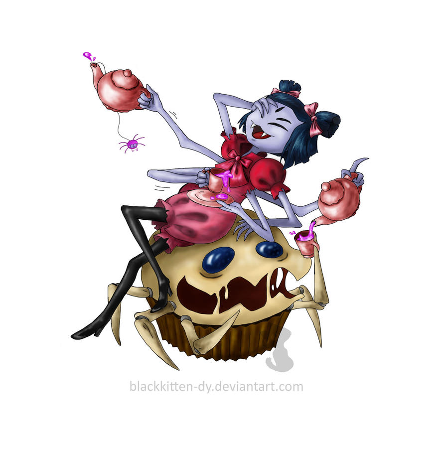 Spider tea time by BlackKitten-DY