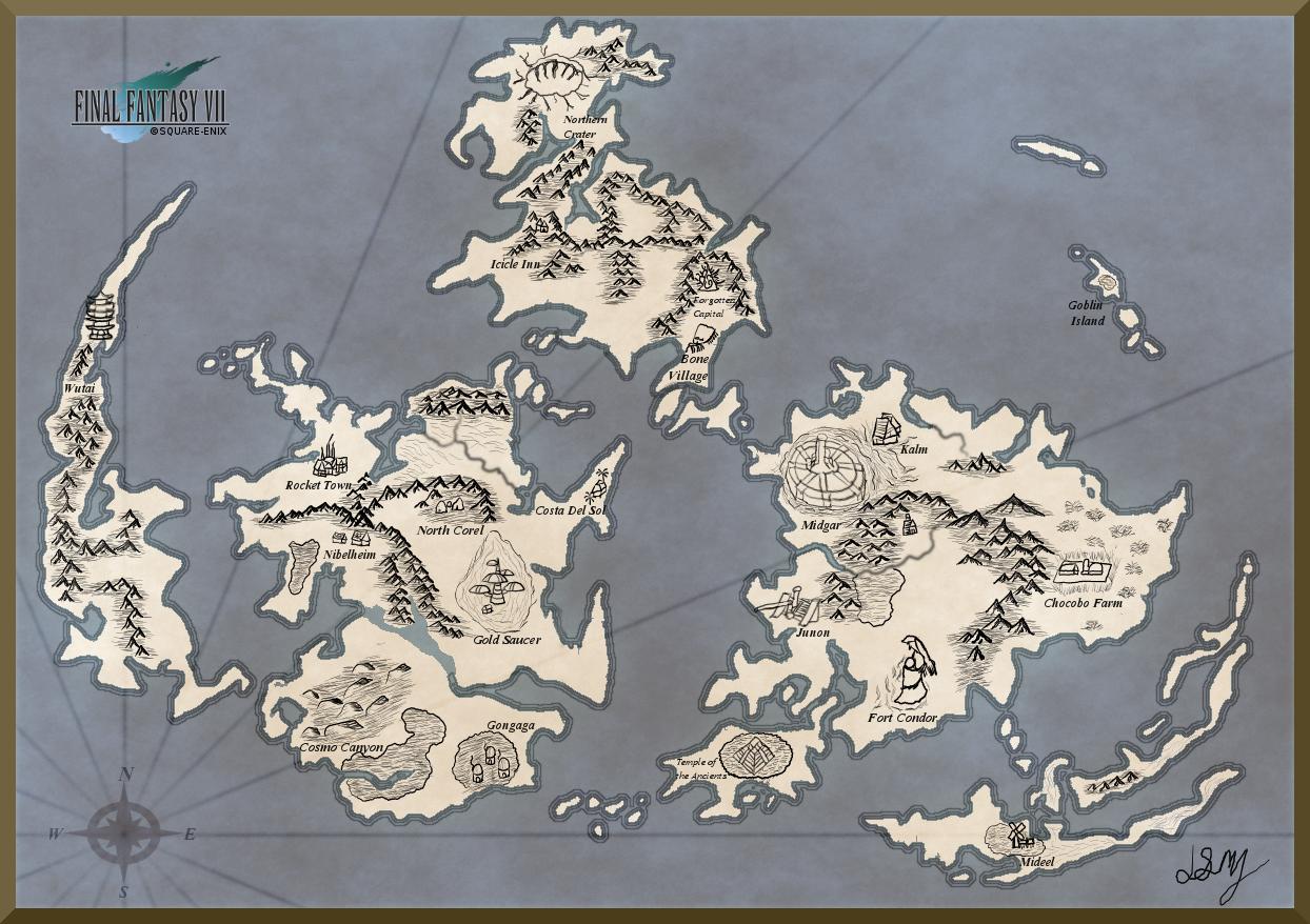 The Planet FFVII Map by mizaria on DeviantArt