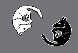 Wolf Yin Yang Tattoo pair