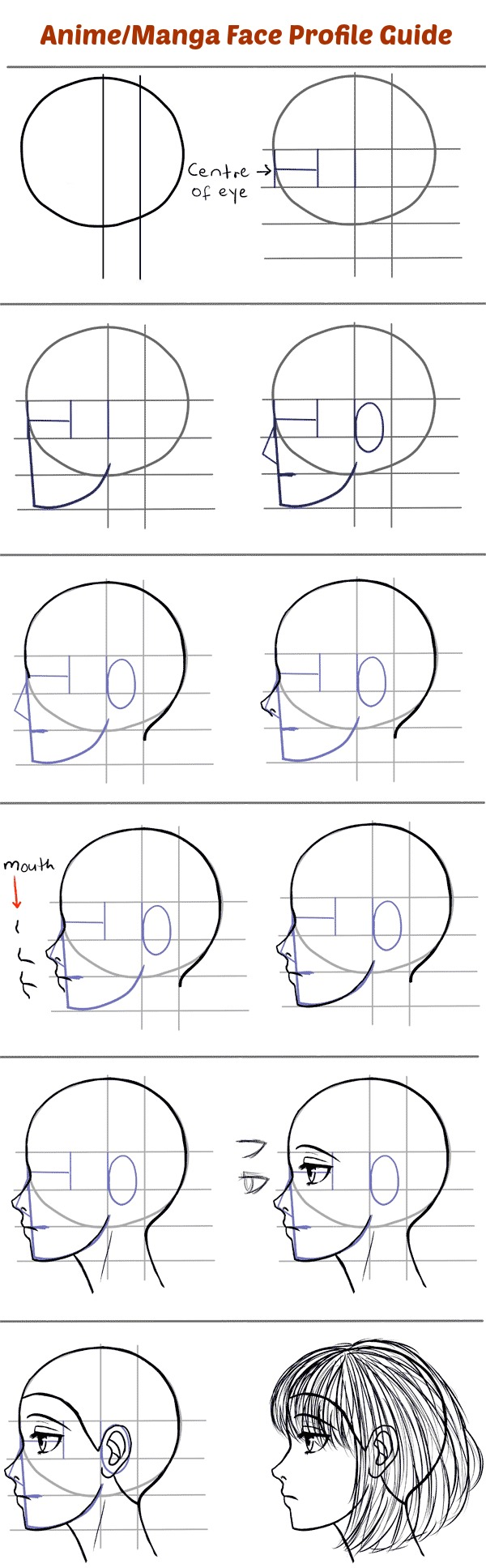Draw Anime Face Profile By Mangastictuts