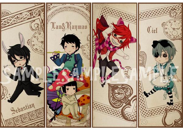 Ciel In Wonderland bookmarks by michiika