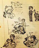 School doodles- kitten ghost by CopperFirecracker