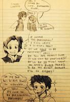 Sloppy School doodle - how they met by CopperFirecracker