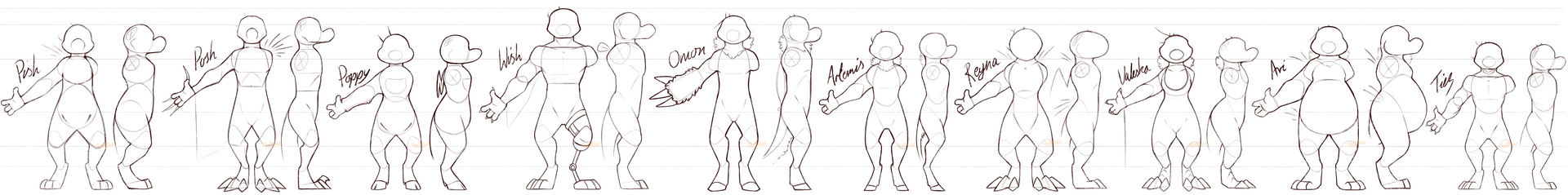 My Biped Gros' Body Types and Heights