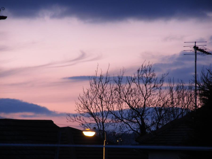 Another sunset, and purple sky? with street light by C-k-photography
