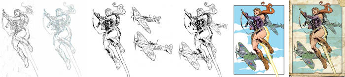 Rocket Girl flying with Spitfires, process. by StazJohnson