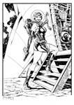 Rocket Girl climbs aboard her ship.