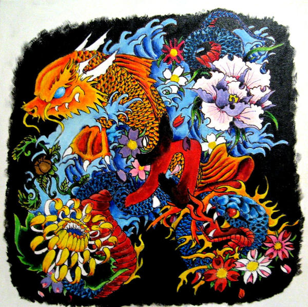 Japanese Tattoo Wallpaper: Koi-Dragon And Snake Painting By CrazedShitakes On DeviantArt