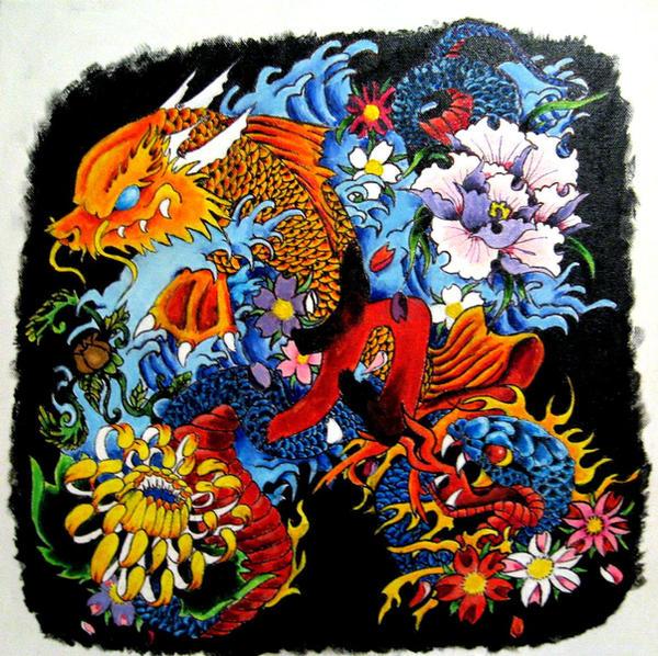 Koi-Dragon and Snake painting