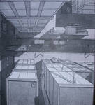 city scape with linear shading