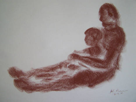 Life Drawing Sketch in Conte