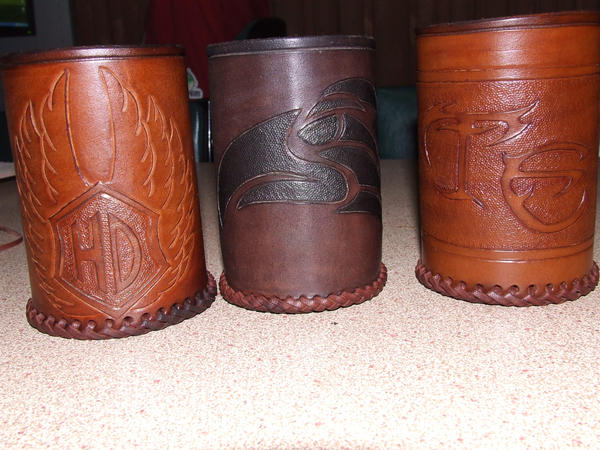 Leather drink holders by leatheroo on deviantart