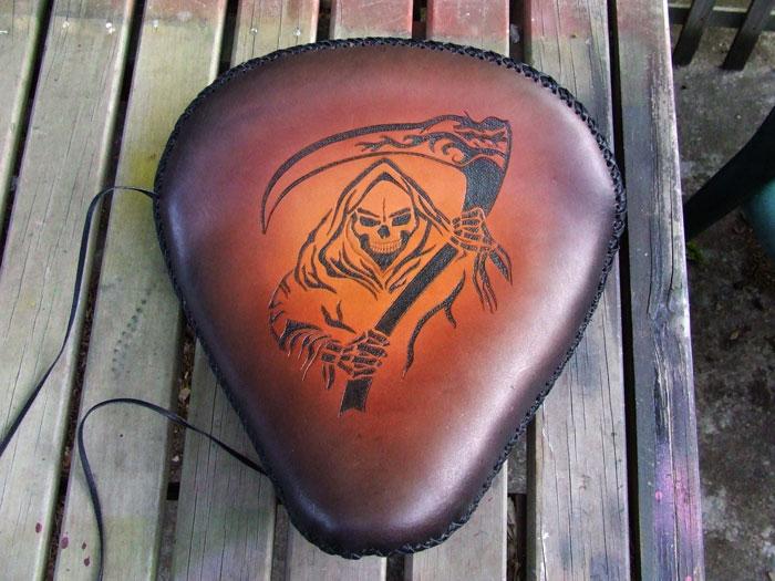 Reaper motorbike seat by leatheroo on deviantart