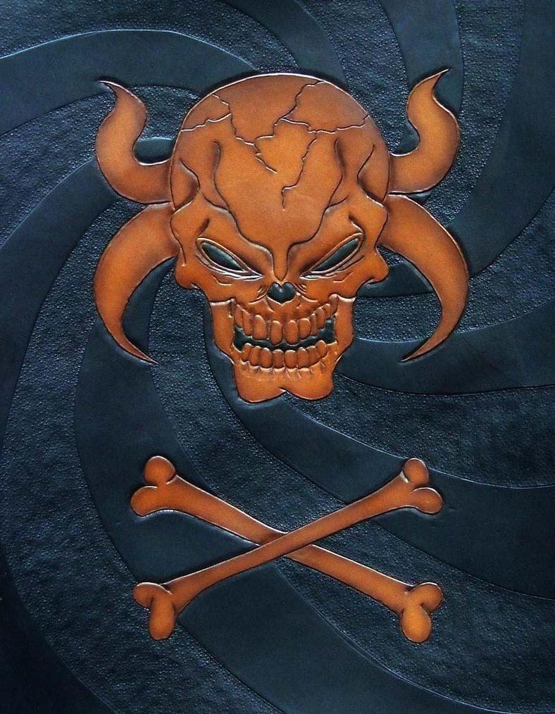 Horned skull and cross bones by leatheroo on deviantart