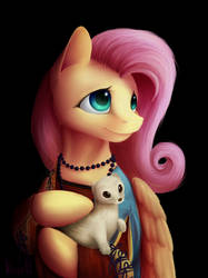 Fluttershy with an Ermine by KlaraPL