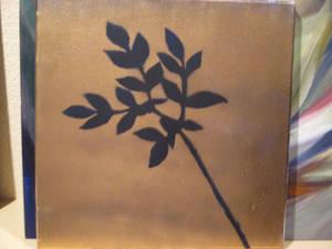 Gold Spray Paint on dark blue