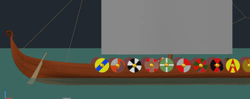 Side of Boat and some Shields