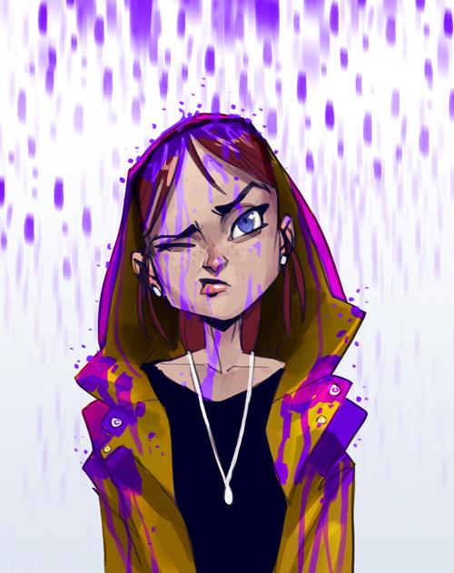 Purple raincoat by MaxGrecke