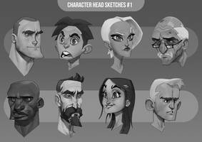 Character Head Sketches #1 by MaxGrecke