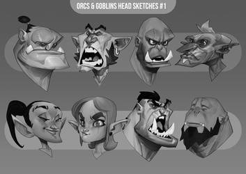 Orc and Goblin head sketches #1