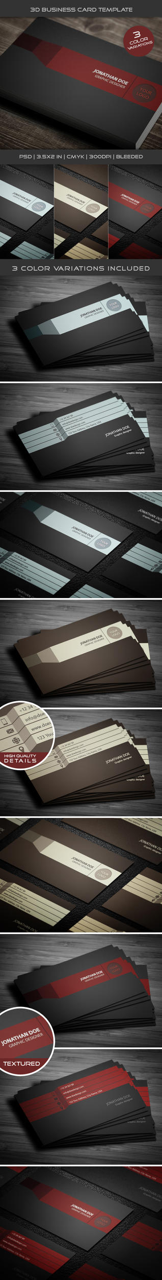 3D Business Card Template 02 by petumDesign