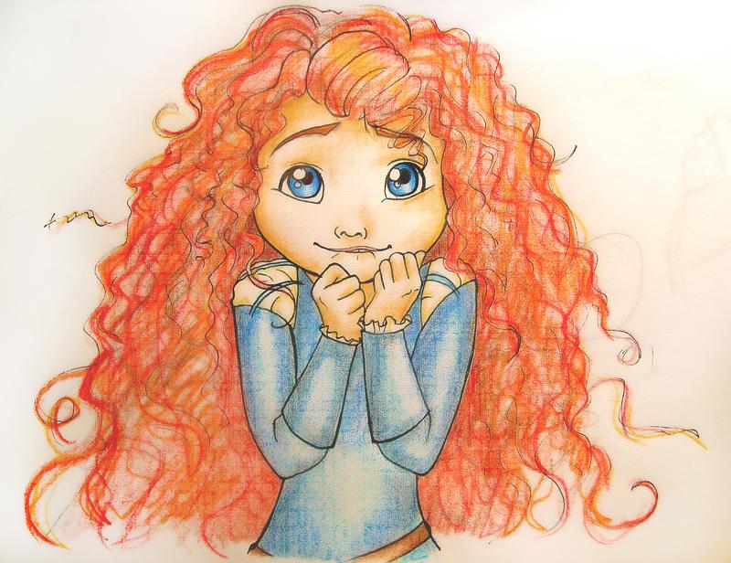 Девушка рисунок рыжая