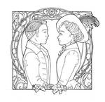 Dwight and Caroline Line Art by RiverCreek