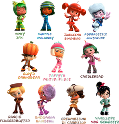 Wreck-It Ralph :Sugar Rush Speedway characters: