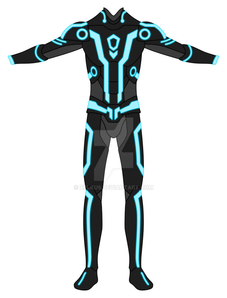 TRON suit :Blue Front view: by Xelku9 on DeviantArt