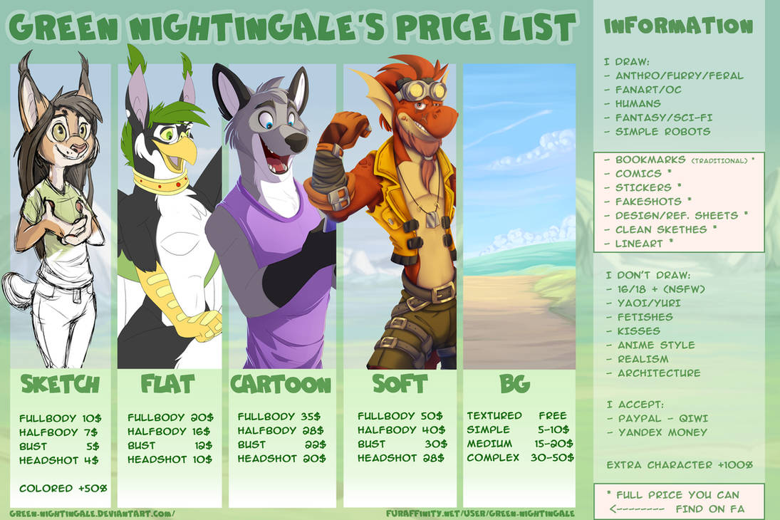 Green Nightingale's commission sheet