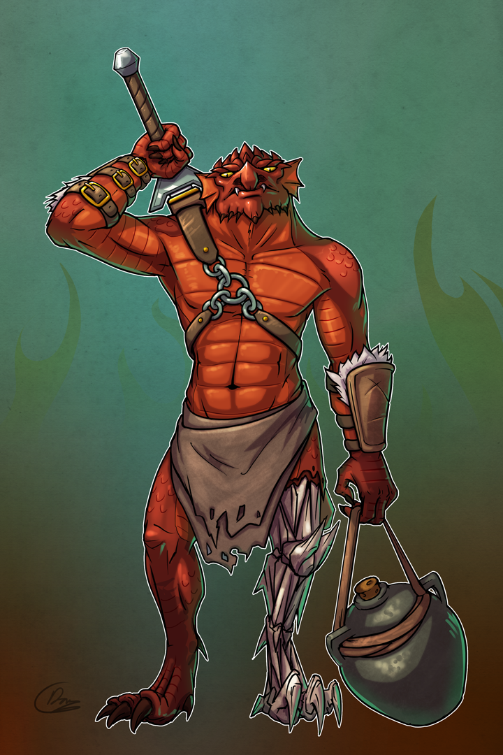Banar - Dragonborn Barbarian by Oni-Tier