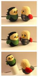 Loki-bird and Thor-bird by cat-cat