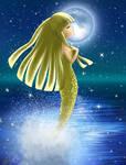 A Mermaid Under the Moonlight