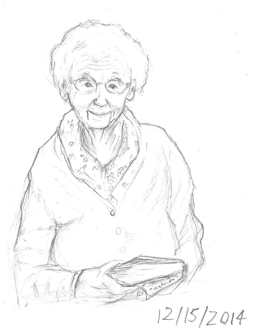 Line Drawing Lady : Smiling old lady by collidoscope on deviantart