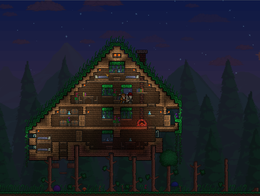 Terraria treehouse by eikester 900 681 for Best house designs terraria