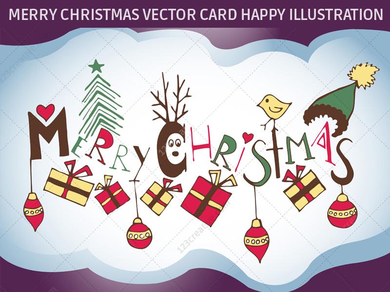 Merry Christmas vector illustration Christmas card by 123creative
