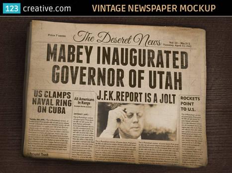 Vintage Newspaper Mockup - old folded newspaper