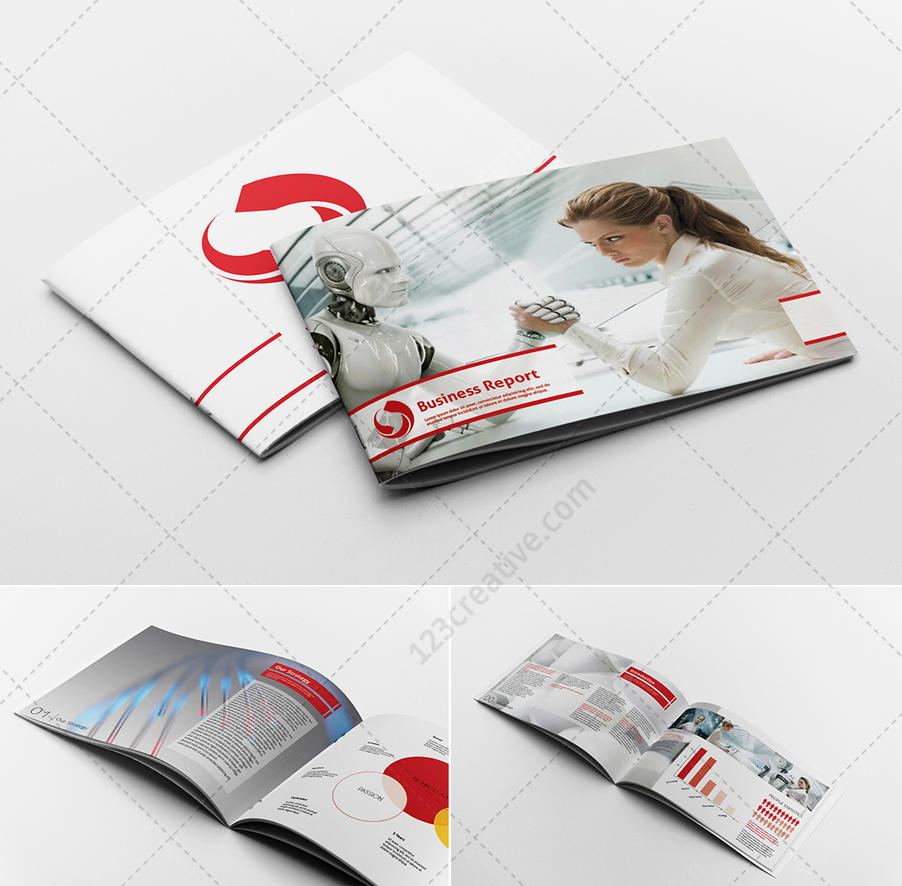 Modern Red Business report brochure template by 123creative