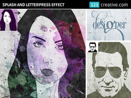Splash and letterpress effect in Photoshop by 123creative