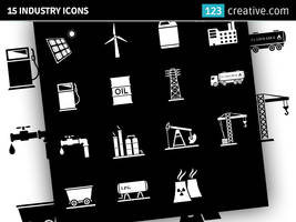 15 Industry icons (black and white) by 123creative
